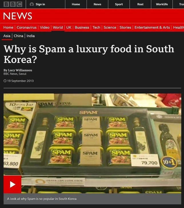 為什麼SPAM在韓國是一種奢侈的食物?